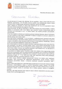 List Prezydenta m.st. Warszawy kierowany do rodziców w sprawie finansowania zadań oświatowych.